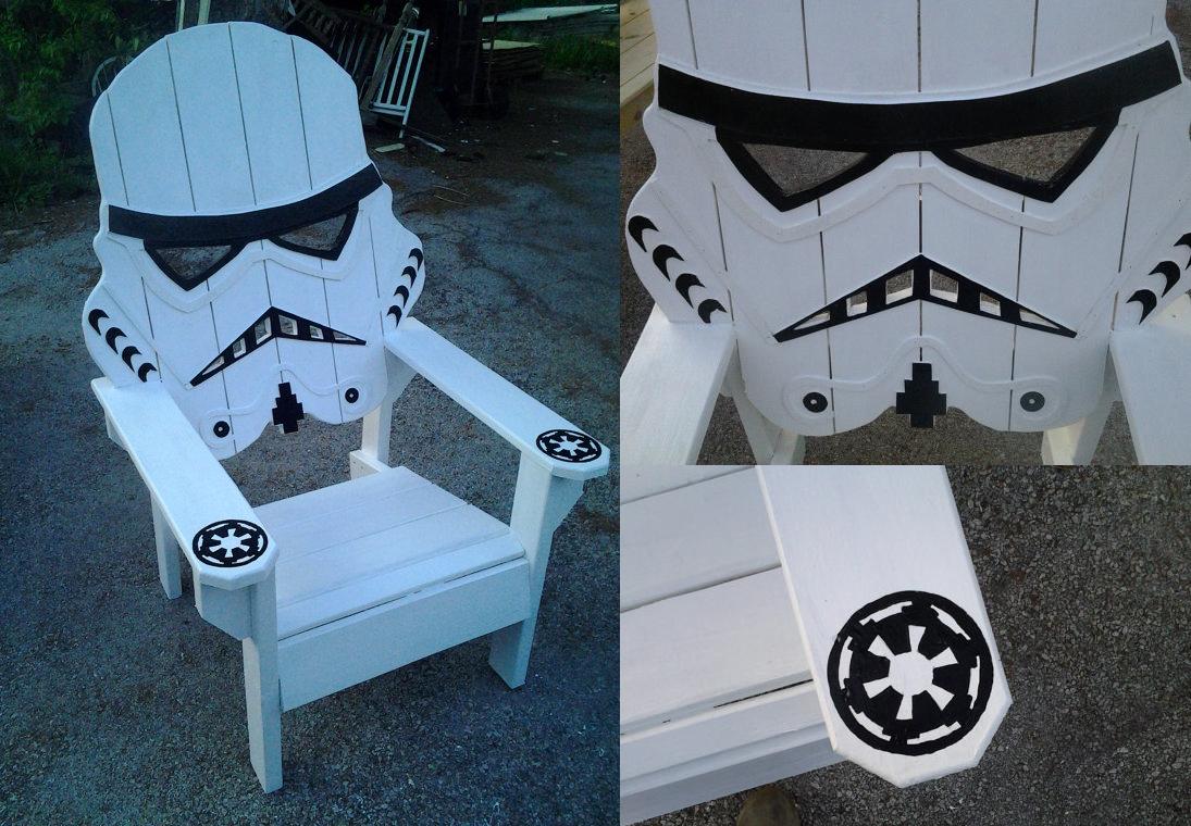 star wars storm trooper chair,Adirondack chair, Yard furniture, big man sized, sturdy,Death star, themed chair, custom beach chair.....