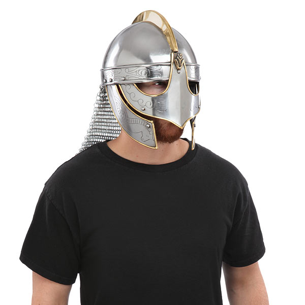 King Helmet With Etching And Chain Mail