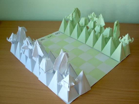 Origami Chess Set - Green