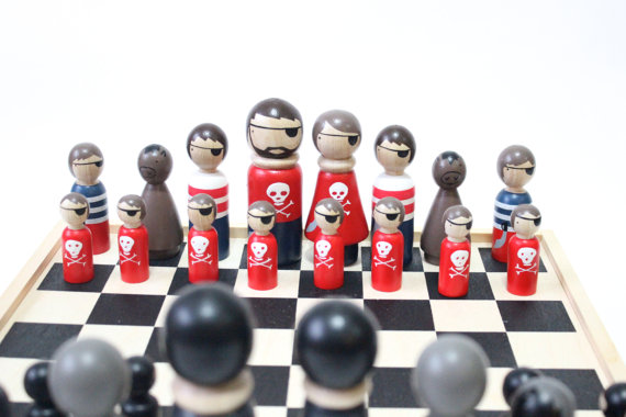 cool Chess Set Wooden Chess Set Pirates vs. Ninjas
