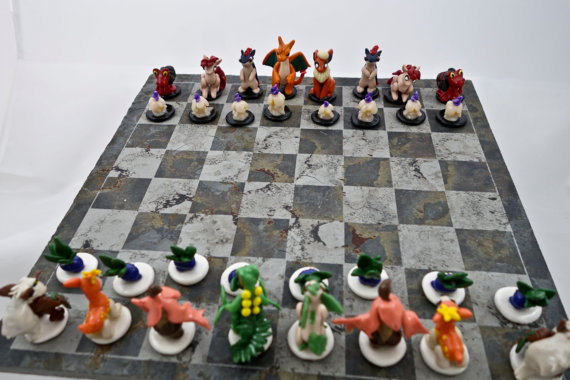 cool Pokemon chess set (Fire VS Grass)