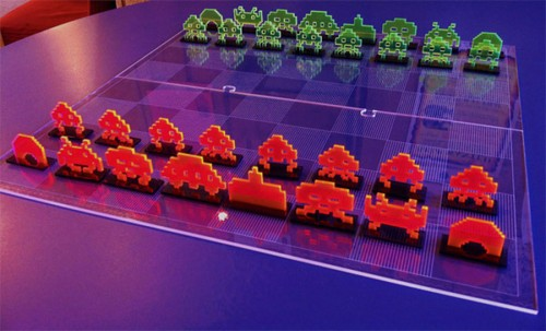 cool Space Invader Chess Set
