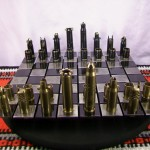 cool chess set 50 CALIBER BULLET shell chess set with steel board