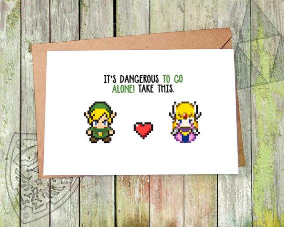 geeky Zelda Valentines Card,