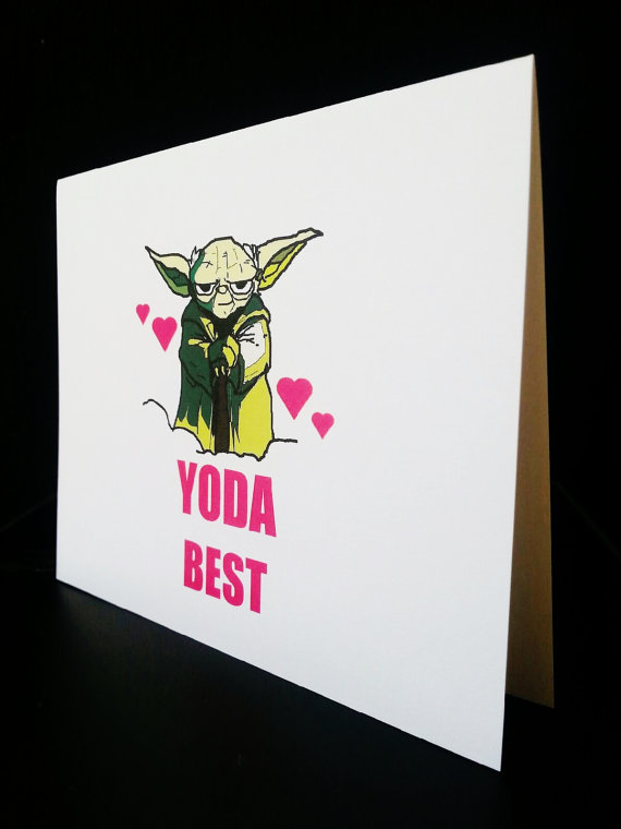 nerdy Valentine's Day card Yoda. Star Wars Card