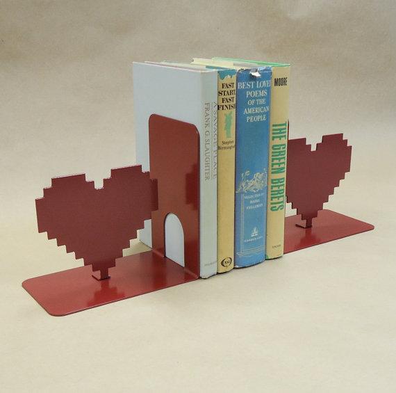 8 Bit Heart Metal Art Bookends