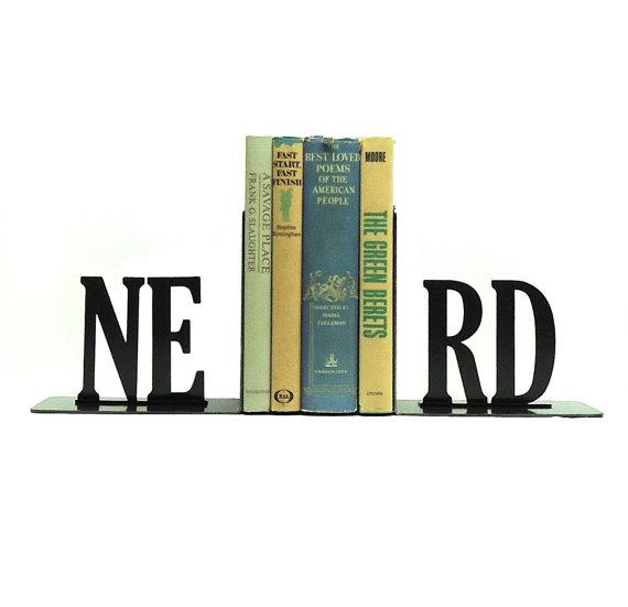 NERD Text Metal Art Bookends