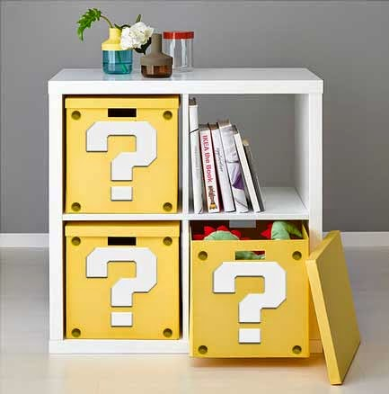 geek ikea hack Super Mario Question Block Shelf