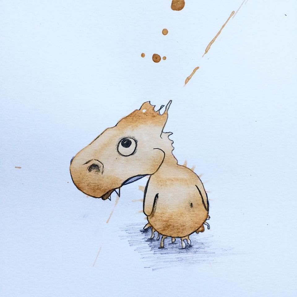 Artist Creates Coolest Coffee Monsters From Coffee Staines 6