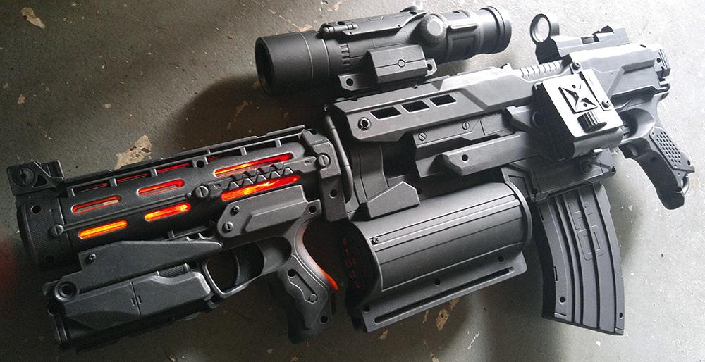 Custom made Agent Phil Coulson Destroyer Nerf Demolisher Gun mode