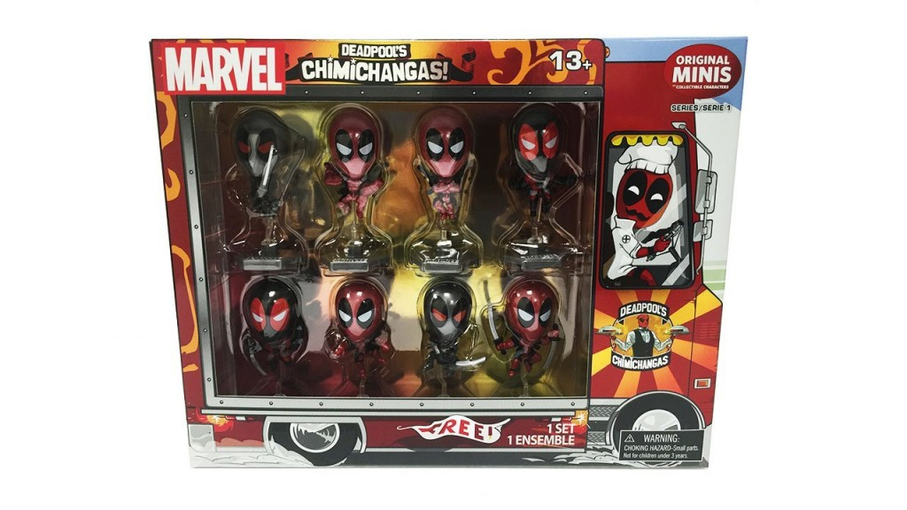 Deadpool Metallic Chrome Figure Set of 8 Chimichanga Truck Package