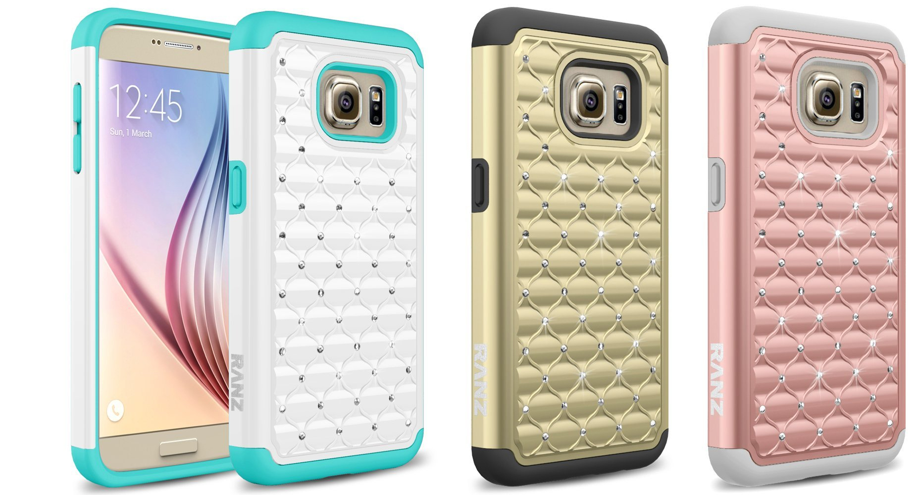 Galaxy S7 Case Diamond Studded Bling Silicone Rubber Skin Hard Case