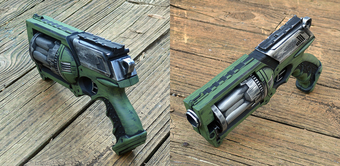 Green and Silver Steampunk Nerf Maverick Pirate Time Traveler Space Captain