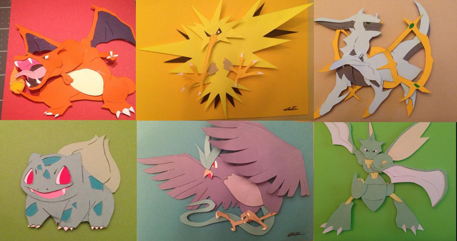 pokemon paper art 3d pop fanart