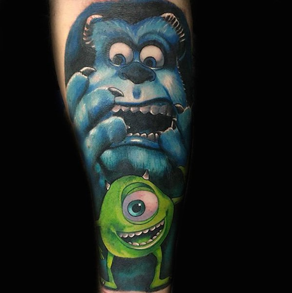 Color Mike & Sulley Tattoo