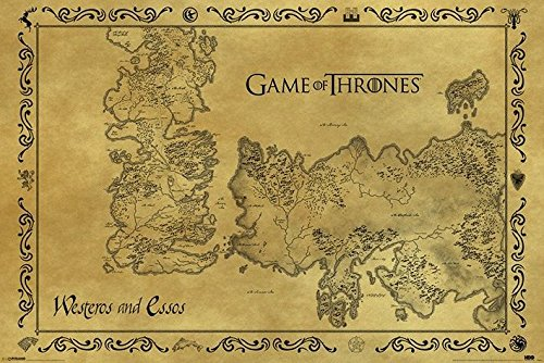 Game of Thrones Antique Style Map of Westeros & Essos