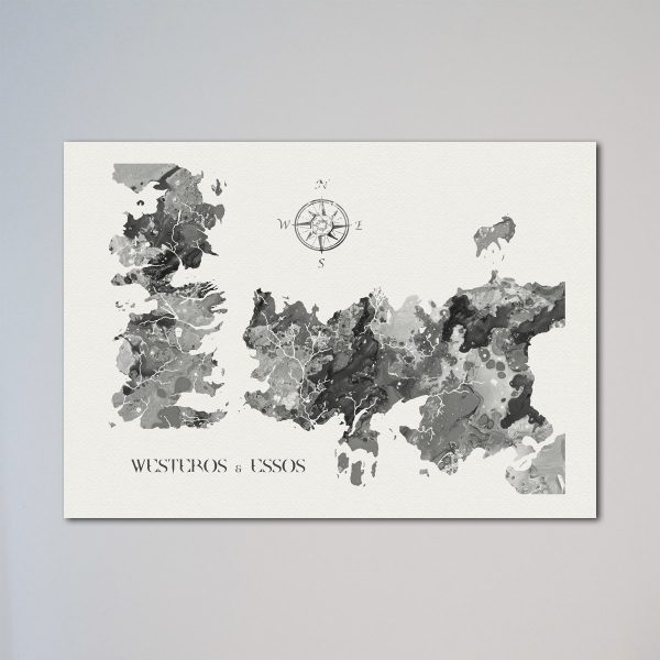 Game of Thrones Black & White Map