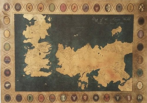 Game of Thrones Vintage Paper World Map