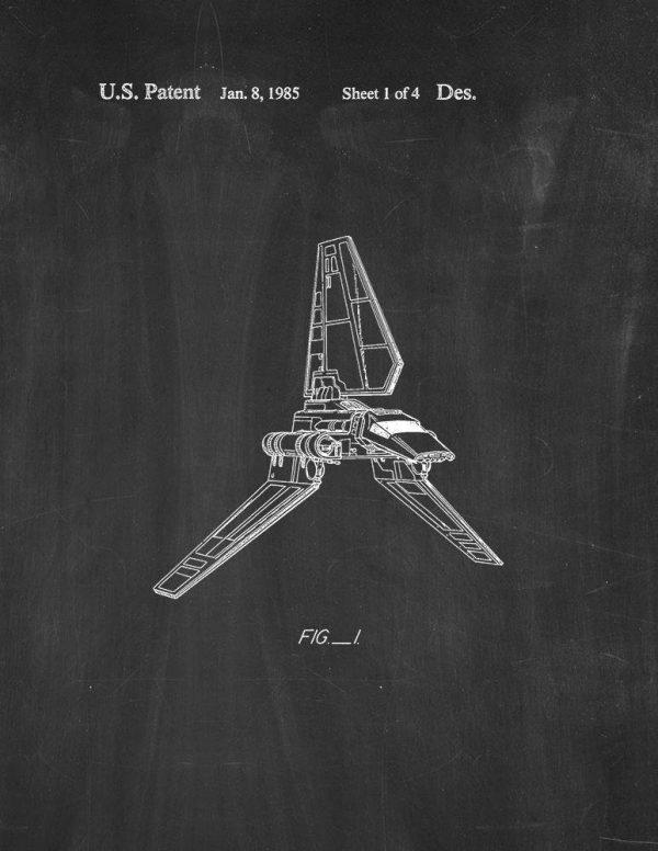 Star Wars Imperial Shuttle Chalkboard Poster