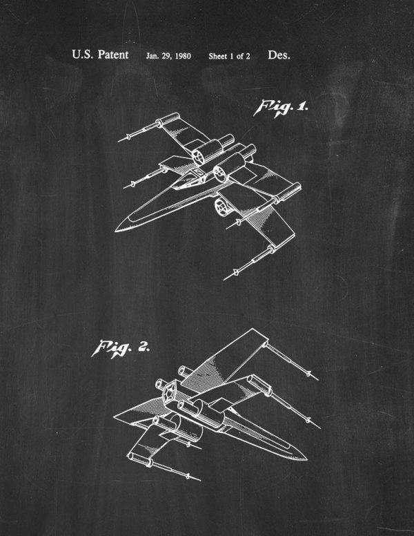 Star Wars X-Wing Chalkboard Poster