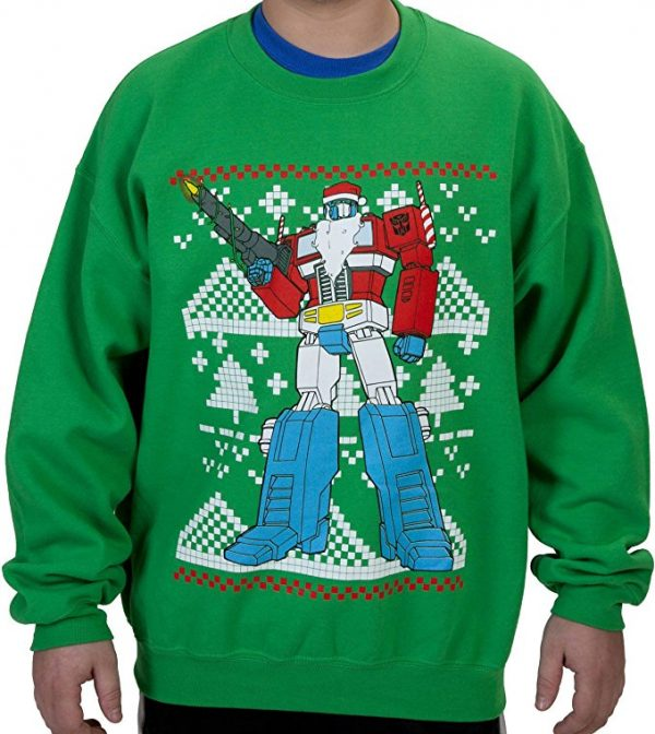 Transformers Optimus Prime Santa Claus Ugly Christmas Sweater