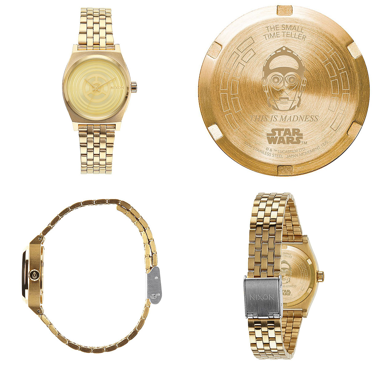 best star wars gift ideas for ladies 2016 Nixon Small Time Teller SW Watch - C-3PO Gold
