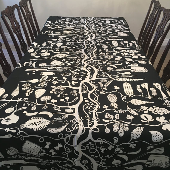Black & White Coloring Book Thanksgiving Tablecloth