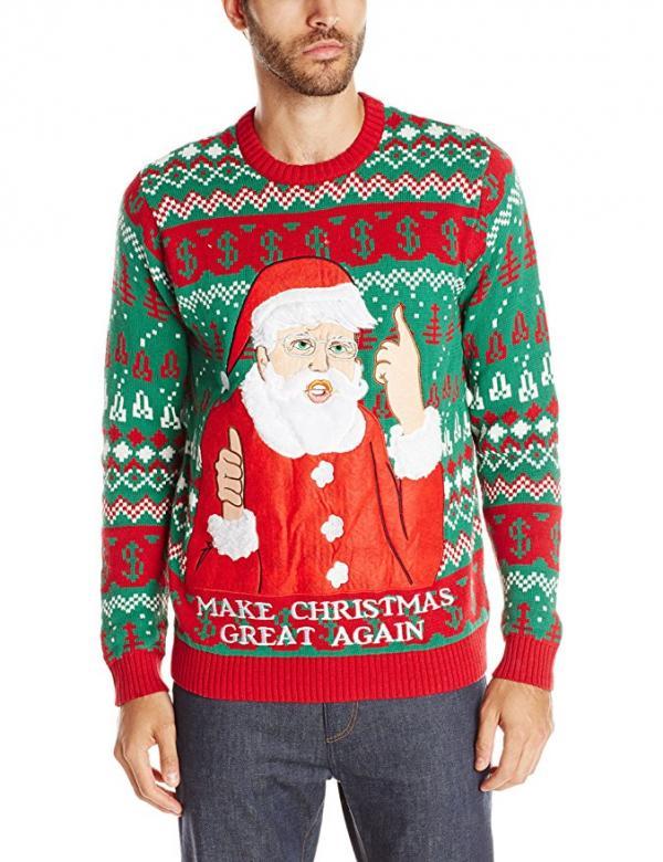 Donald Trump Ugly Christmas Sweater.Donald Trump Santa Claus Ugly Christmas Sweater Walyou