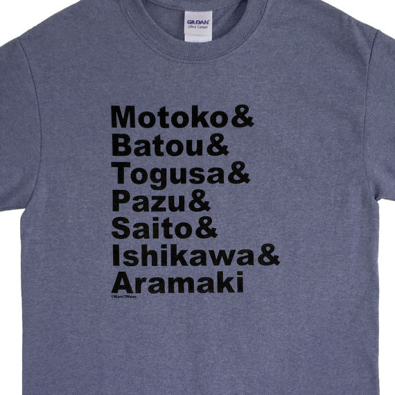 Ghost in the Shell Character Names t-shirt