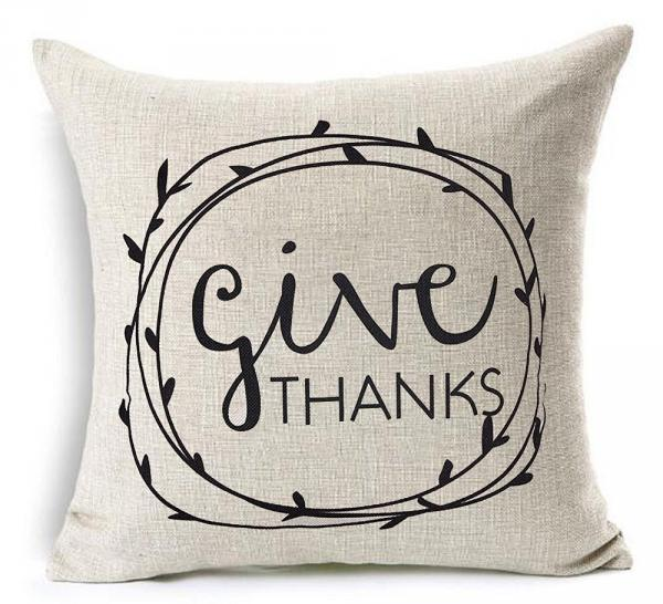 Give Thanks Thanksgiving Pillow Cover