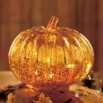 Thanksgiving Glass Lighted Pumpkin