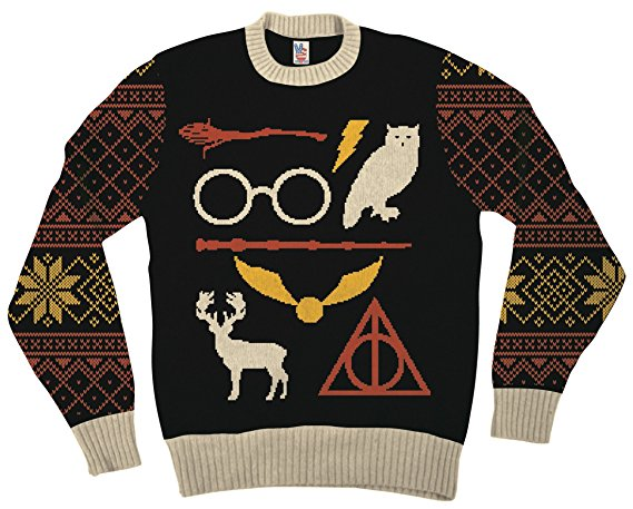 harry potter owl deathly hallows sign adult black ugly christmas sweater