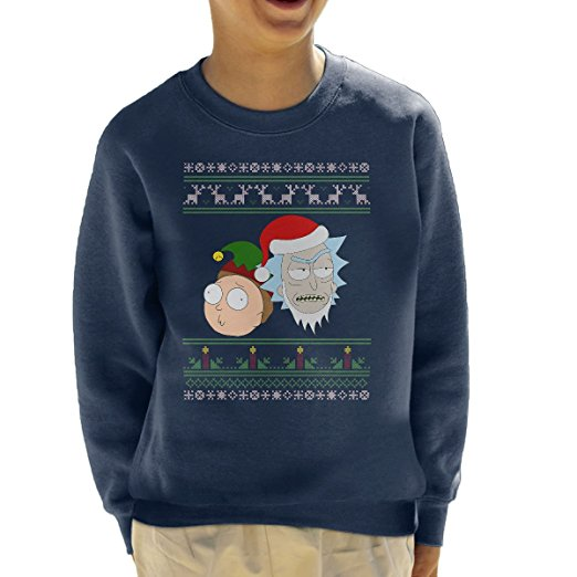 rick-santa-and-morty-elf-christmas-knit-kids-sweatshirt