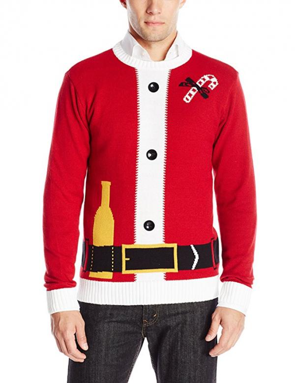 Santa Bottle in the Belt Ugly Christmas Sweater