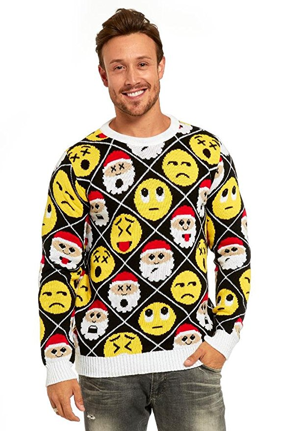 Santa Emoji Ugly Christmas Sweater