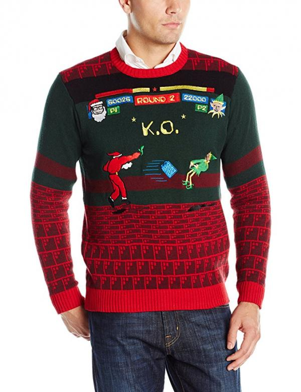 Santa Fighting Game Ugly Christmas Sweater