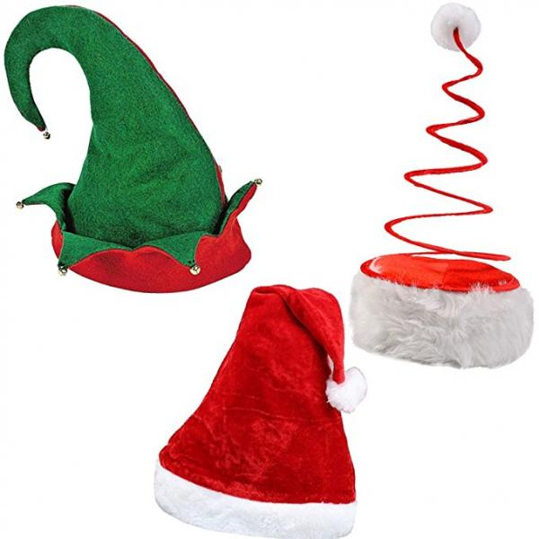 Christmas Set of Santa Hat, Elf Hat and Santa Coil Hat