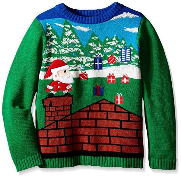 Santa Video Game Style Ugly Christmas Sweater