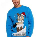Santa on a Chimney Ugly Christmas Sweater