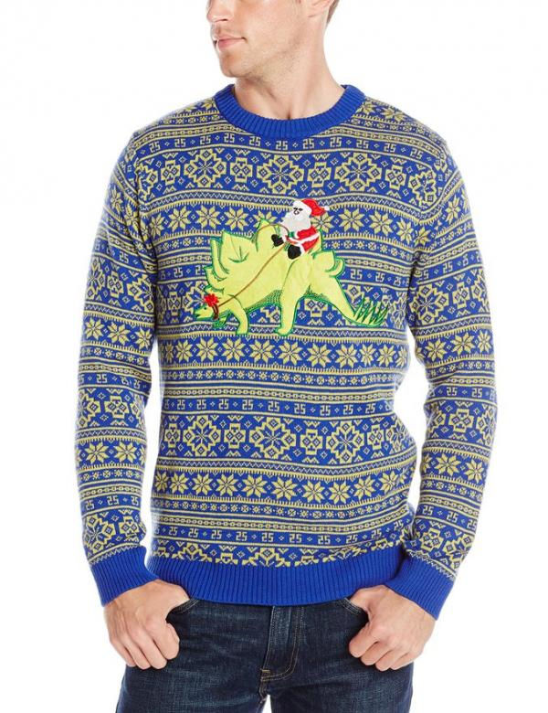 Santa on a Dinosaur Ugly Christmas Sweater