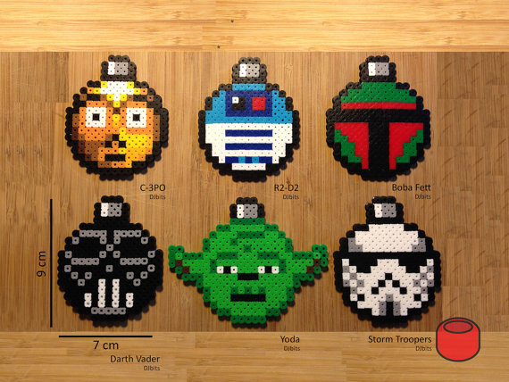 Star Wars Christmas Ornaments and Magnets made from Perler Beads