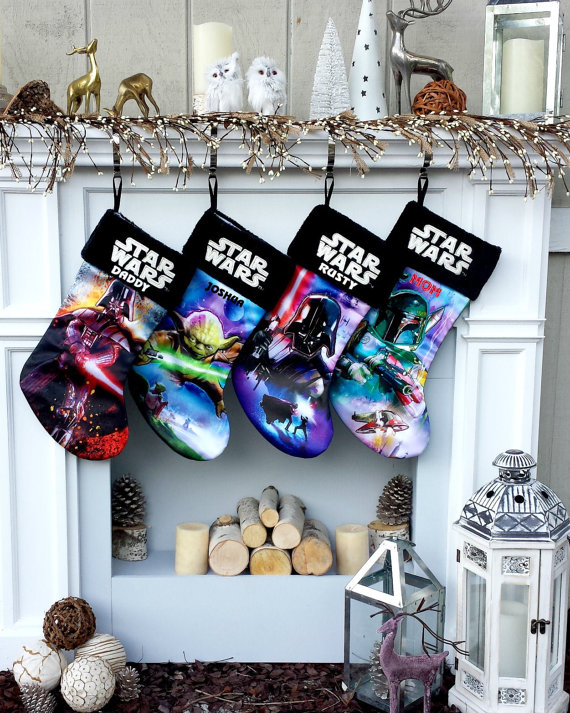 star wars christmas stockings yoda darth vader boba fett - Star Wars Christmas Decorations