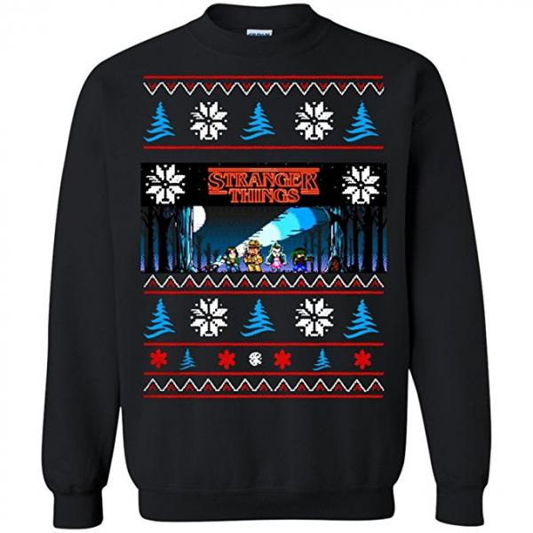 Stranger Things Video Game Style Ugly Christmas Sweater