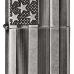 Zippo American Flag Antique Silver Lighter