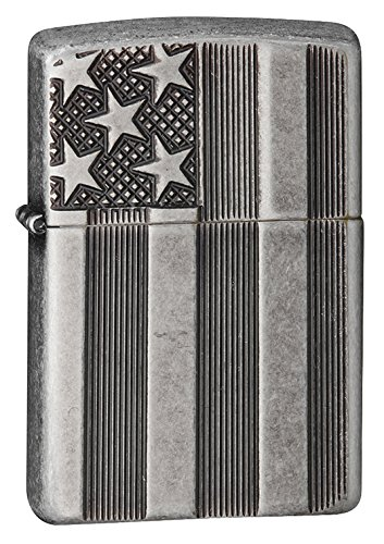 Zippo American Flag Antique Silver Lighter
