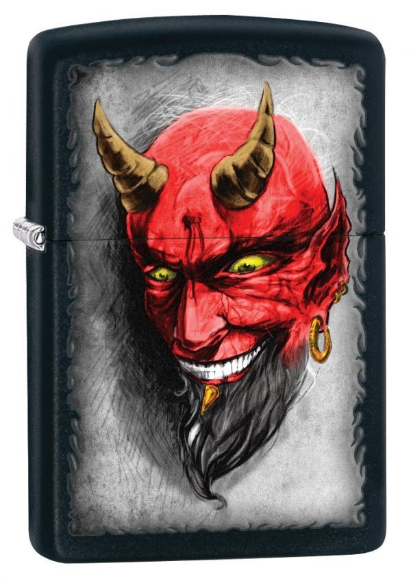 Zippo Villain Lighters Black Matte Devil
