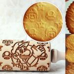 best-gift-ideas-nintendo-video-games-super-smash-bros-luigi-pattern-laser-engraved-embossing-rolling-pin-for-decorated-cookies-fondant-cupcake-topper-cookie
