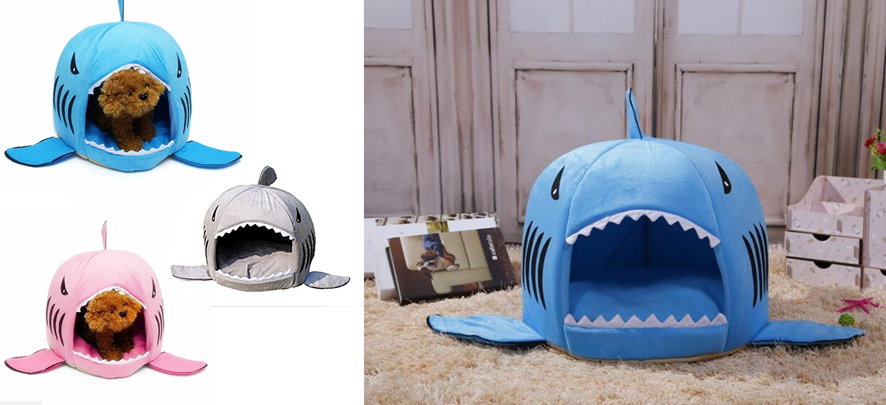 funny-dog-cat-gift-ideas-pet-bed-kamier-shark-round-washable-soft-cotton-dog-cat-pet-bed