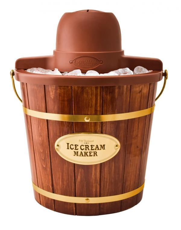 BestNostalgia ICMP600WD Vintage Collection 6-Quart Wood Bucket Electric Ice Cream Maker Ice Cream Makers Nostalgia ICMW400 Vintage Collection