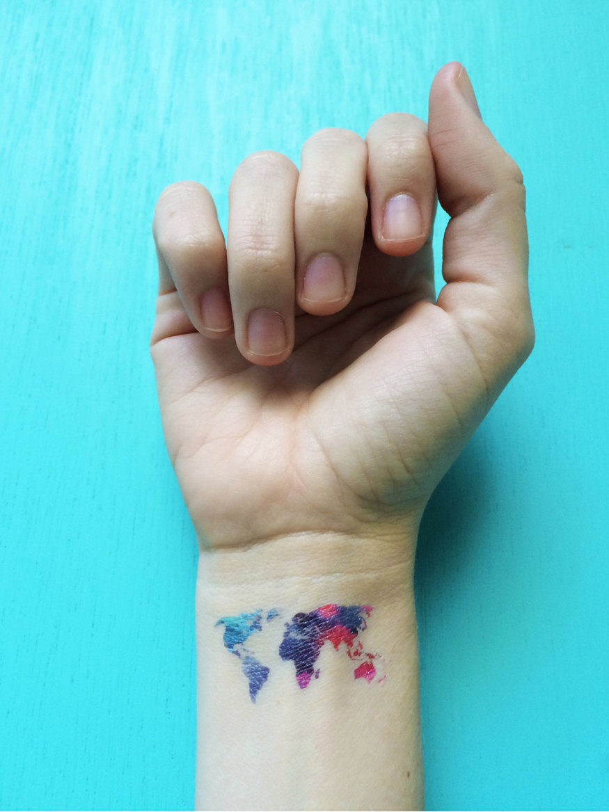 2017-the-best-realistic-looking-temporary-fake-tattoos-etsy-watercolor-temporary-tattoos-world-map-bohemian-wanderlust